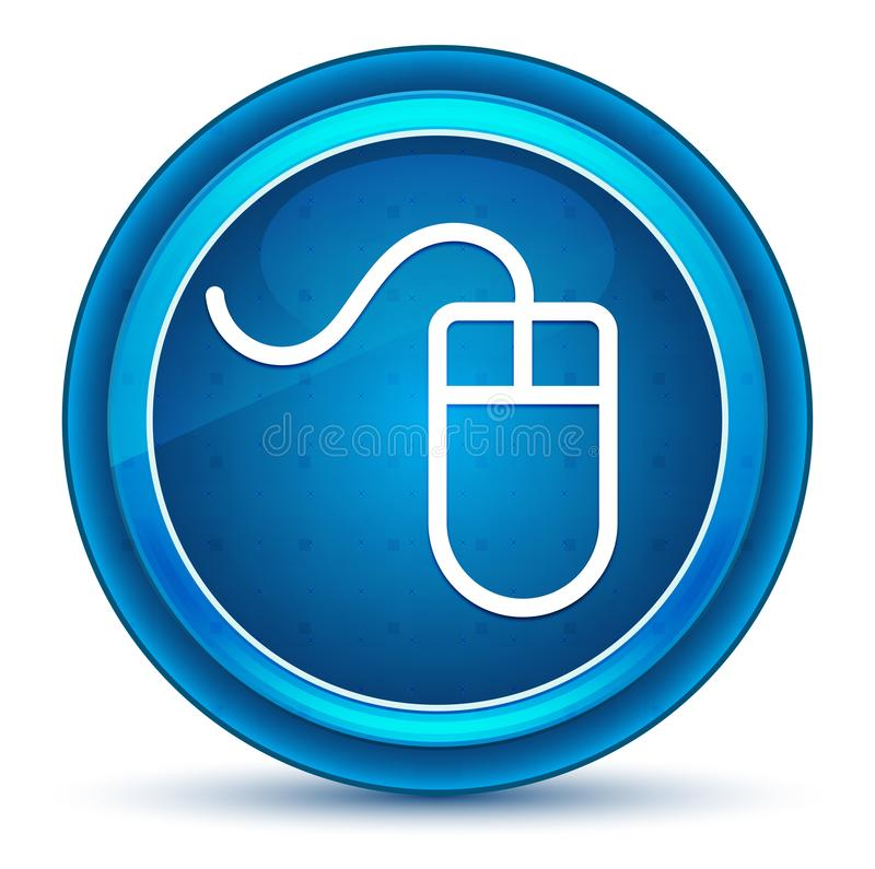 Mouse icon eyeball blue round button. Mouse icon isolated on eyeball blue round button vector illustration