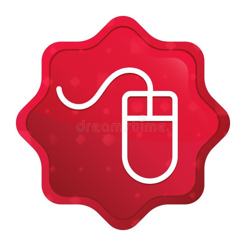 Mouse icon misty rose red starburst sticker button. Mouse icon isolated on misty rose red starburst sticker button vector illustration