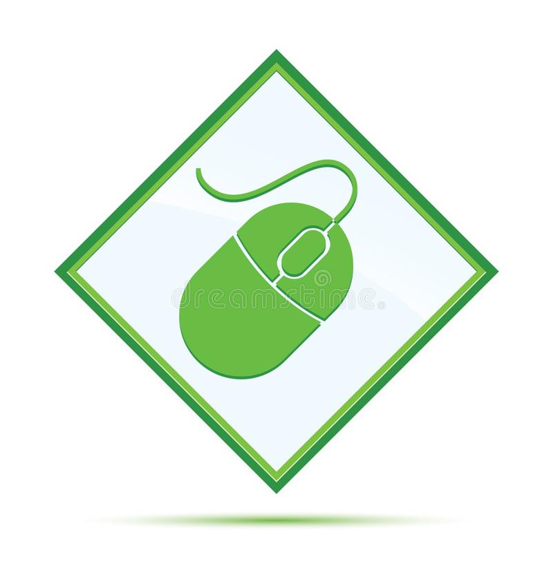 Mouse icon modern abstract green diamond button. Mouse icon isolated on modern abstract green diamond button vector illustration