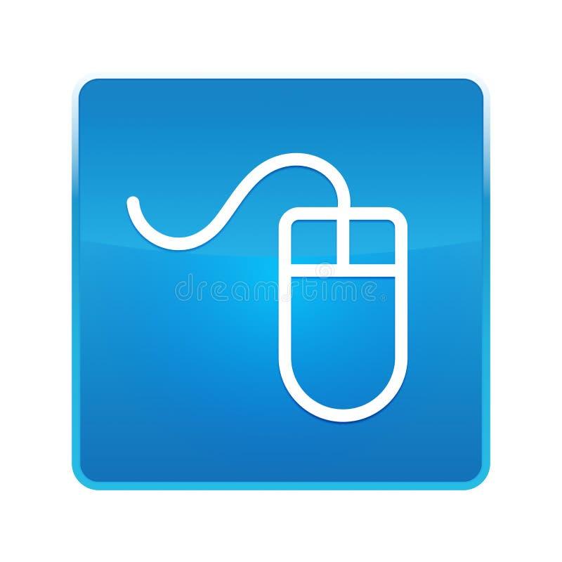 Mouse icon shiny blue square button. Mouse icon isolated on shiny blue square button stock illustration