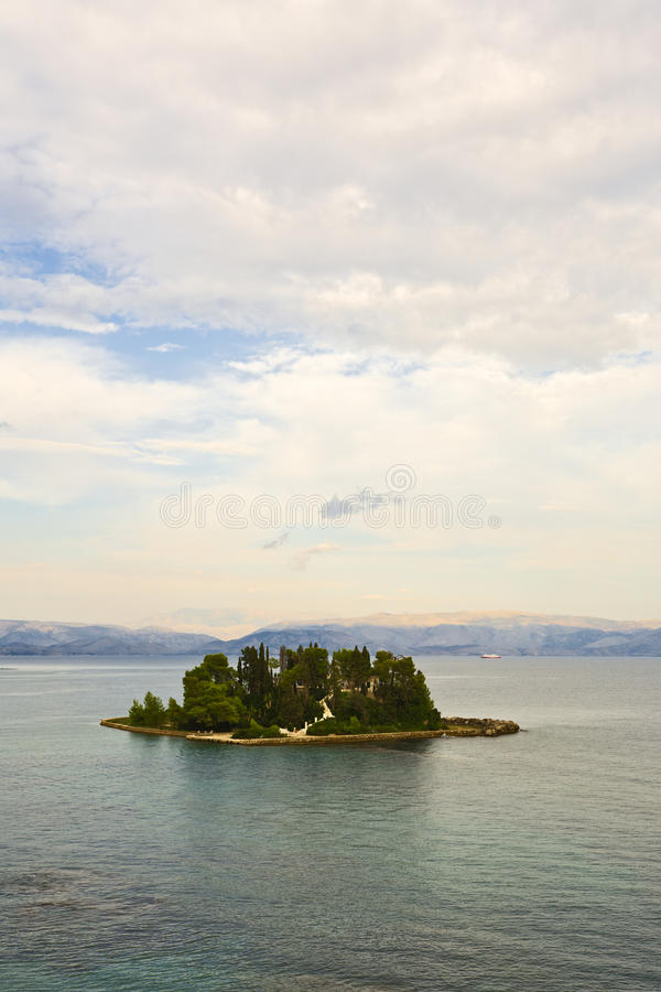 Mouse Island at Corfu and the albanian mountains