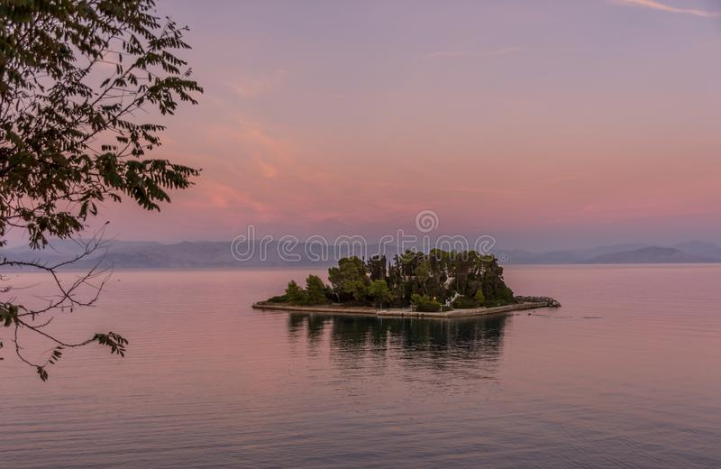 Mouse Island Pontikonisi at Corfu Greece. Amazing Greece stock photography