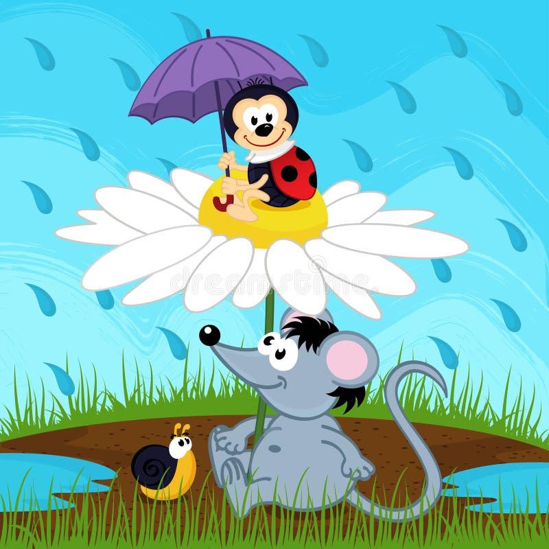 Mouse ladybug snail hiding from rain vector illustration