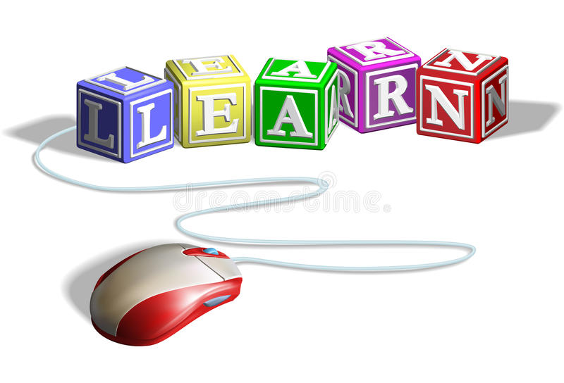 Mouse and learn blocks concept. Mouse connected to alphabet letter blocks forming the word learn. Concept for e-learning vector illustration