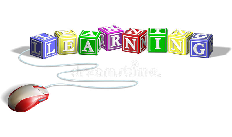 Mouse and learning blocks concept. Mouse connected to alphabet letter blocks forming the word learning. Concept for e-learning royalty free illustration