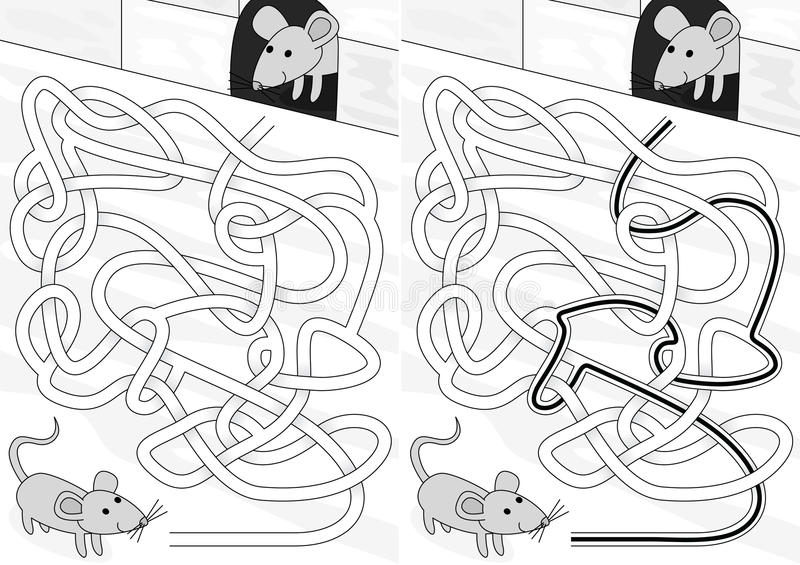 Mouse maze. For kids with a solution in black and white stock illustration