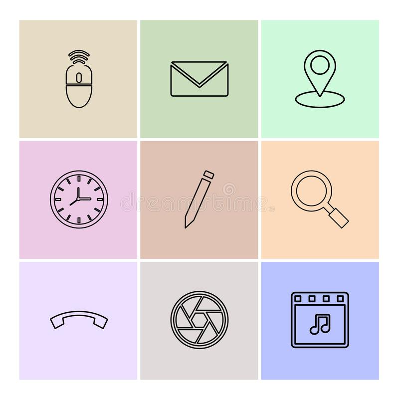 Mouse, message ,navigation , search , music , clock , pencil , c. All , wheel , icon, vector, design, flat, collection, style, creative, icons - This Vector EPS stock illustration