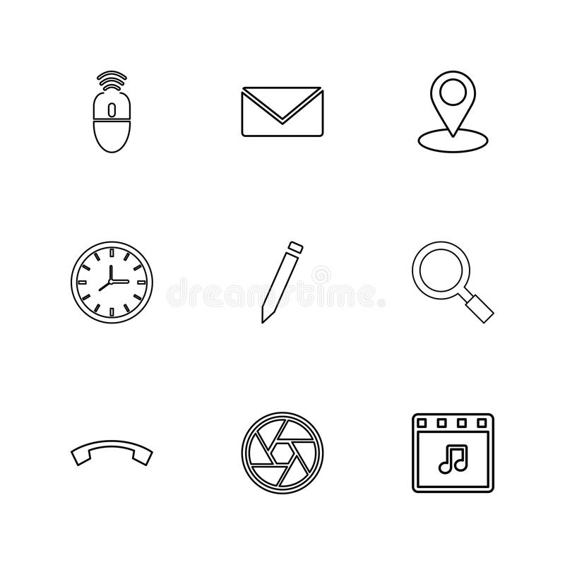 mouse, message ,navigation , search , music , clock , pencil , c stock illustration