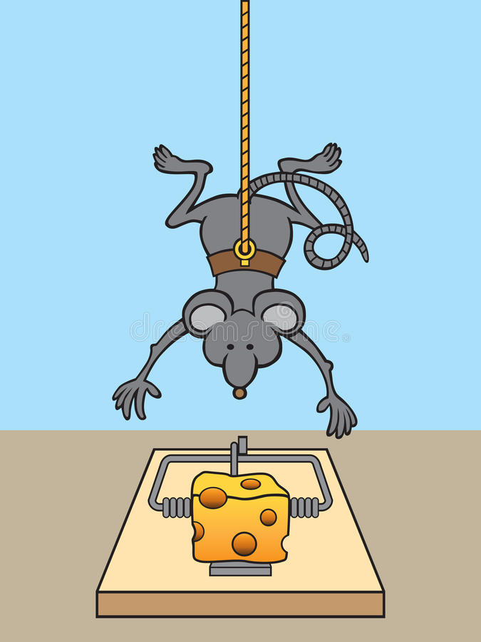 Mouse on Mission. Mouse lowering himself to mousetrap in order to safely grab cheese vector illustration