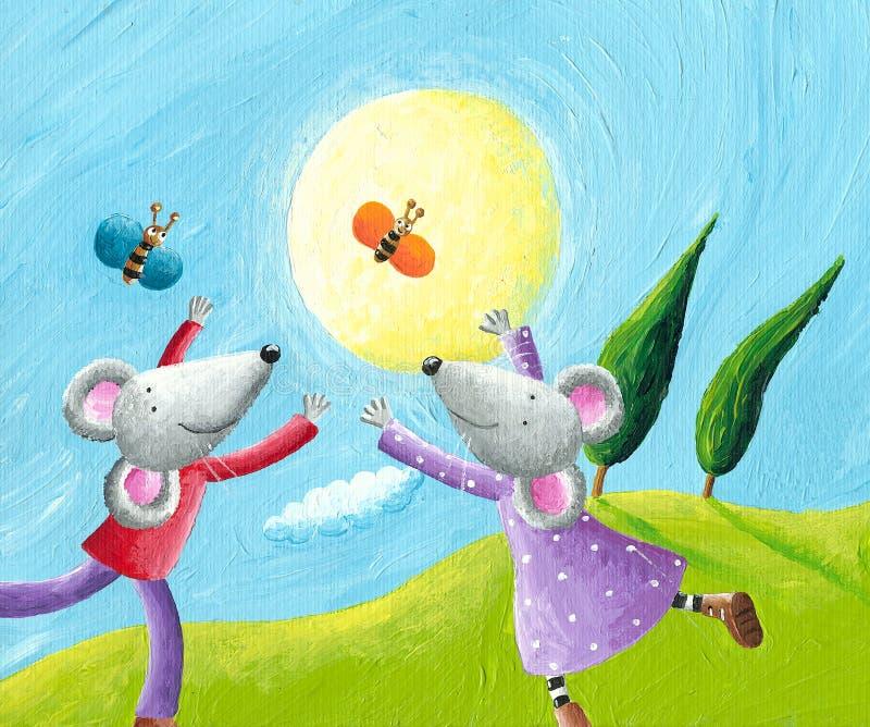 Mouse nell'amore che funziona nel prato illustrazione di stock