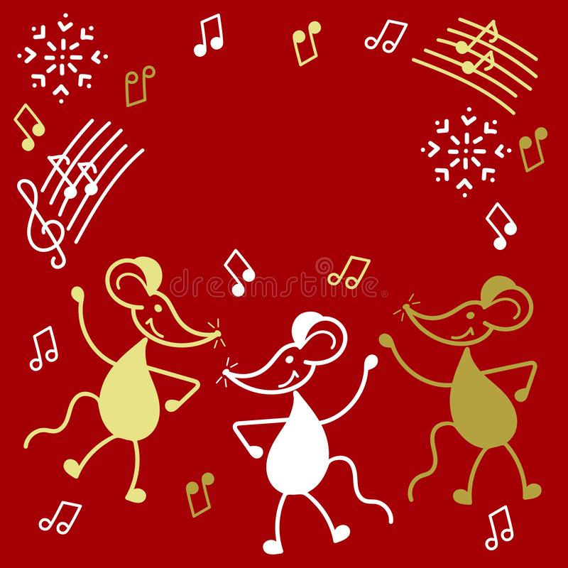 Free Mouse Party, Hand Drawn Vector Symbol 2020 Year. Fun Little Mice Are Dancing, Music Stock Photography - 162930372