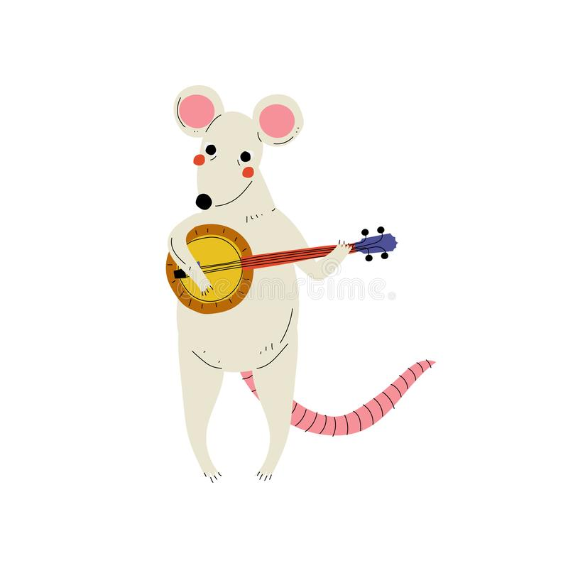 Mouse Playing Domra, Cute Cartoon Animal Musician Character Playing Musical Instrument Vector Illustration royalty free illustration