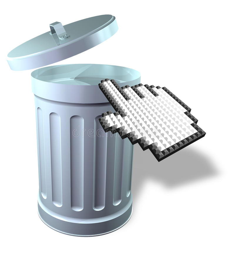 Download Mouse Pointer With 3D Trash Can Stock Illustration - Image: 17612354