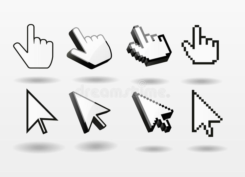Mouse pointer set computer cursor icon finger royalty free illustration
