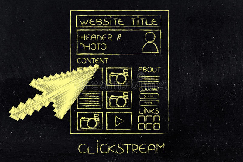 Mouse pointer about to click somewhere on a webpage, clickstream concept. User clickpath analysis concept: mouse pointer about to click somewhere on a webpage stock photo