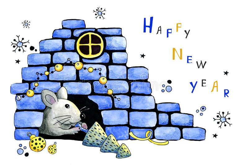 Mouse, rat brought a Christmas tree to the mink. Hand drawn watercolor illustration with the symbol of the New Year 2020 for the vector illustration