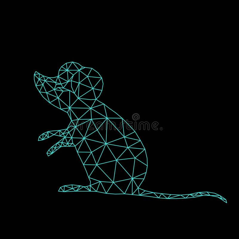 Mouse or rat symbol of 2020 on the Chinese calendar. animal according to the Asian horoscope. Low poly line art in triangle. geometric polygon. vector royalty free illustration