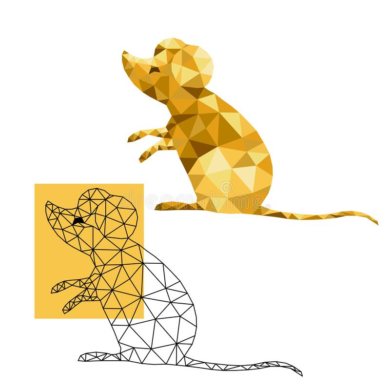 Mouse or rat symbol of 2020 on the Chinese calendar. animal according to the Asian horoscope. Low poly line art in triangle. geometric polygon. vector vector illustration