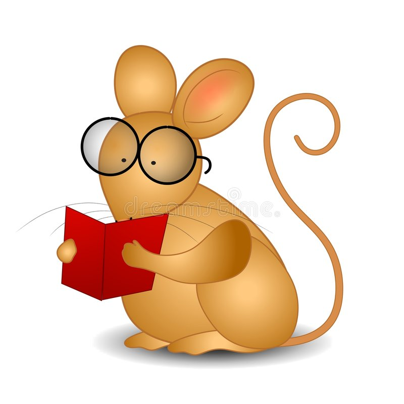Mouse Reading a Book. An illustration featuring a smart-looking mouse wearing glasses and reading a book