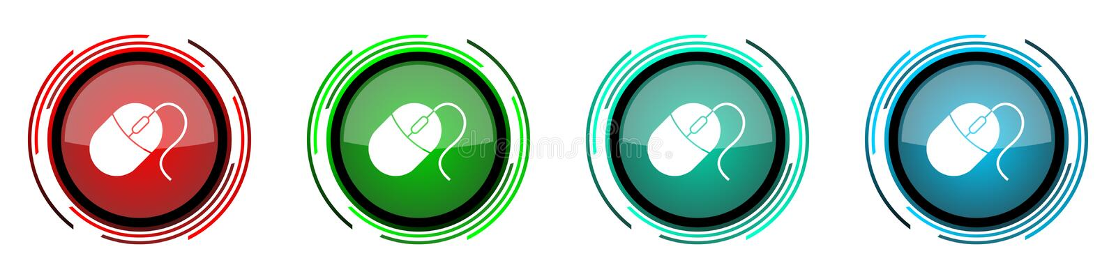 Mouse round glossy vector icons, set of buttons for webdesign, internet and mobile phone applications in four colors options. Isolated on white royalty free illustration