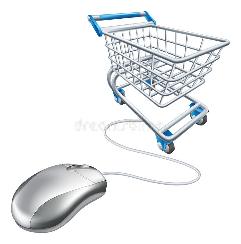 Mouse shopping cart. Computer mouse shopping cart illustration, a concept for internet online shopping vector illustration
