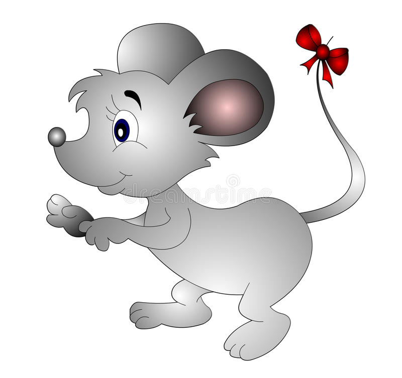 Download The Mouse With Small Bow On Tail Stock Illustration - Image: 14790459