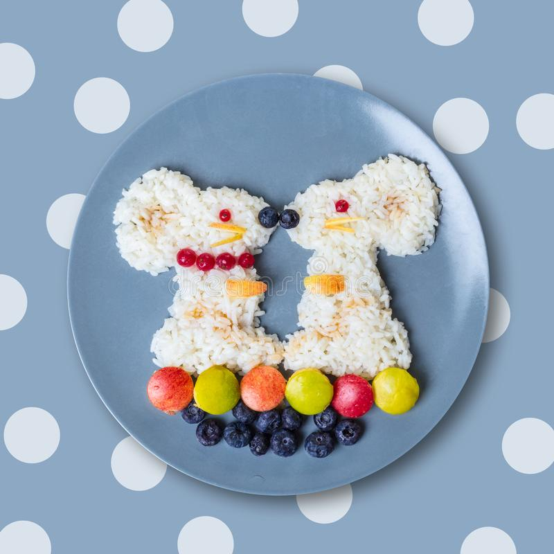 Mouse from sweet rice with berries royalty free stock photos