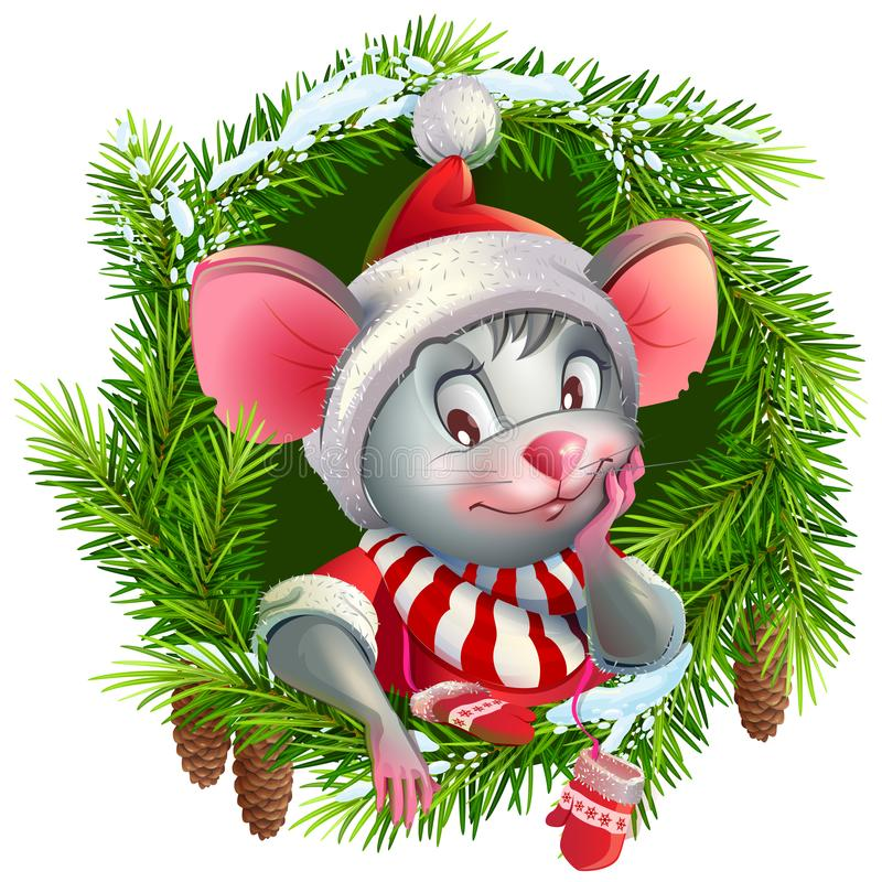 Mouse symbol of 2020 year and Christmas wreath of fir branches. Cute rat character in santa hat stock illustration