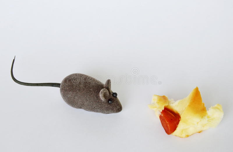 Mouse toy and sausage bread on white background. Mouse toy and sausage bread on the white background stock photography