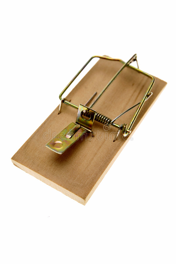 Mouse trap. A simple mouse trap isolated on a white background royalty free stock images