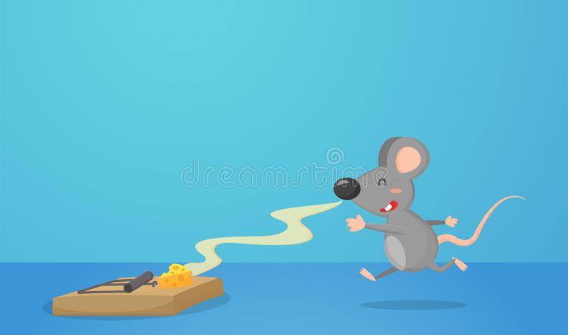 Mouse trap with butter as bait. And cute mice are being fooled royalty free illustration