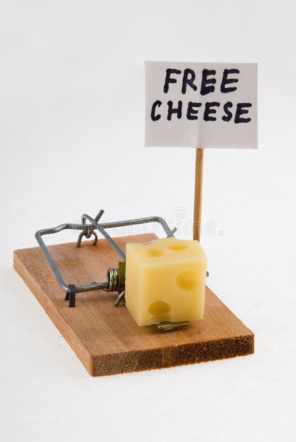 Mouse trap with cheese and Free Cheese sign. Macro stock image