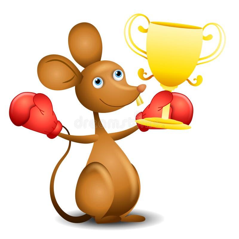 Mouse Trophy Boxing Gloves. An illustration featuring a mouse wearing boxing gloves and holding a trophy stock illustration