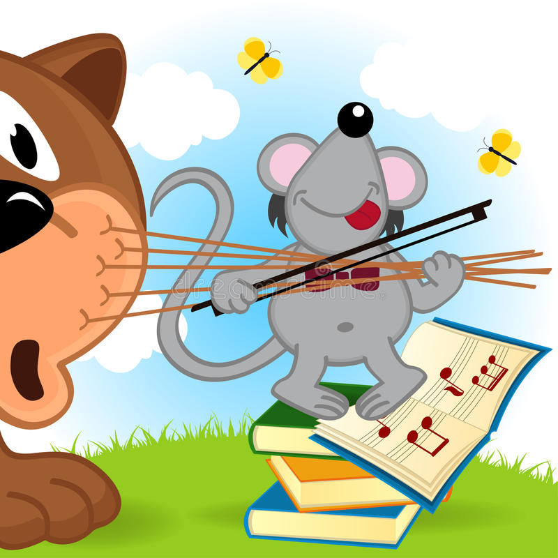 Mouse violinist. Vector illustration, eps royalty free illustration