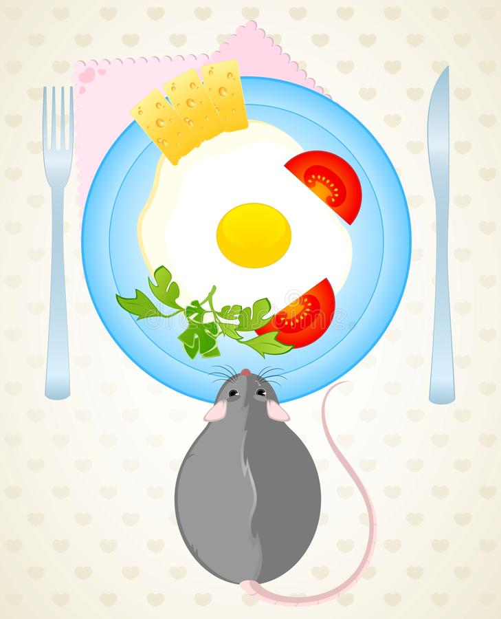 Download Mouse Wants To Eat The Fried Eggs Royalty Free Stock Image - Image: 12761486