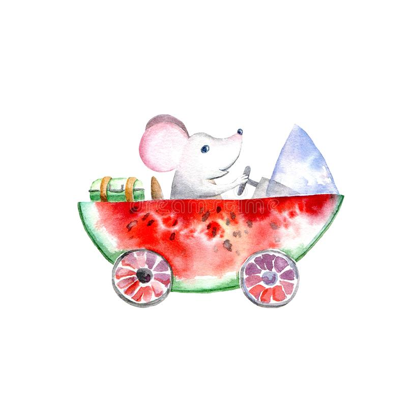 Mouse on a watermelon machine.Travel sketch. White background.Watercolor hand drawn illustration vector illustration