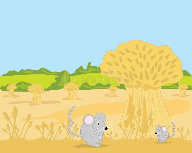 Mouse and wheatsheaf royalty free stock image