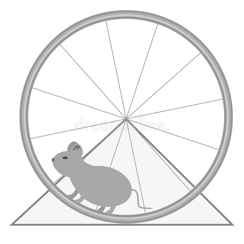 Mouse and wheel. Illustration of a lab rat in a wheel stock illustration