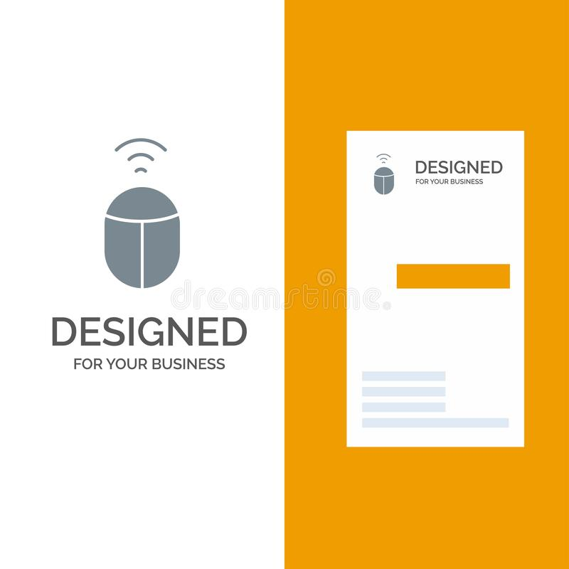 Mouse, Wifi, Computer Grey Logo Design and Business Card Template vector illustration