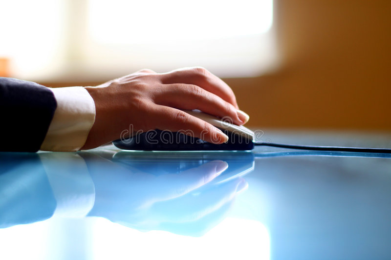 Mouse work hand stock photo