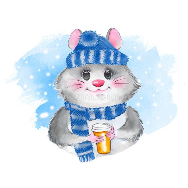 Mousel sveglio del fumetto con la tazza di caffè illustrazione di stock