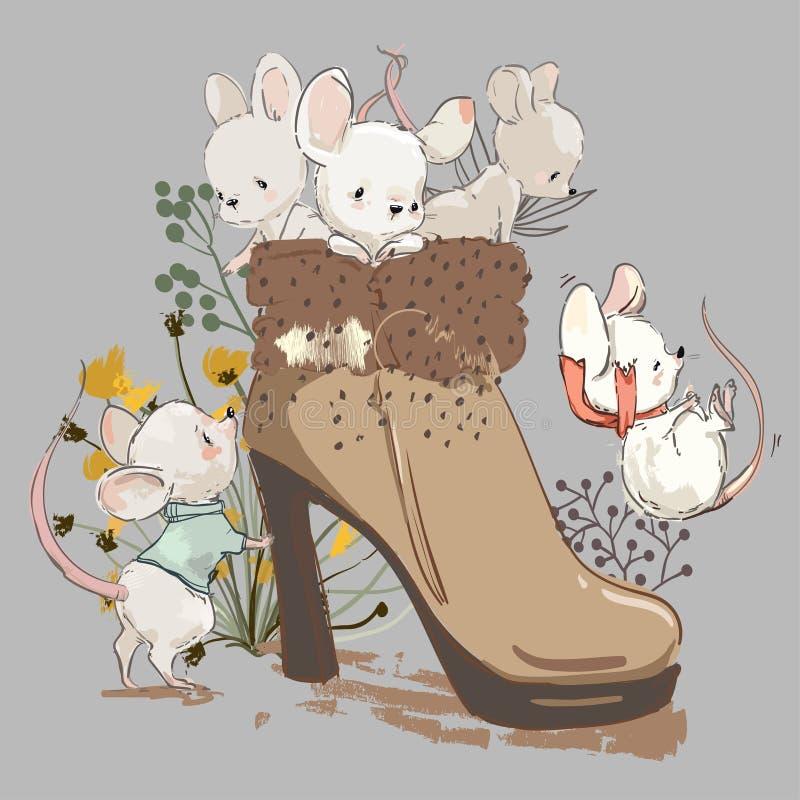 Mouses bonitos na bota ilustração royalty free