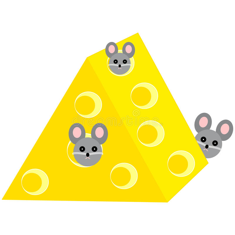 Mouses in cheese on white background. Vector illustration royalty free illustration