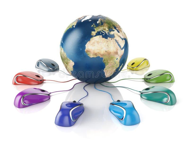 Mouses d'ordinateur reliés à une terre de globe illustration libre de droits