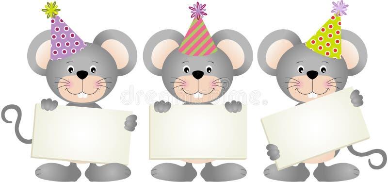 Mouses do aniversário com quadros indicadores ilustração do vetor