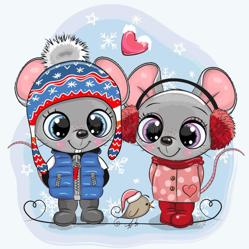 Mouses pojke och flicka i hattar och lag vektor illustrationer