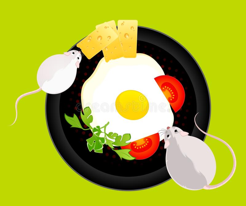 Mouses Quiere Comer Los Huevos Fritos Imagen de archivo libre de regalías