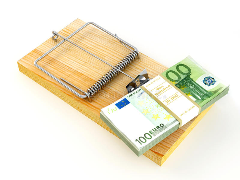 Mousetrap with euro stock photo