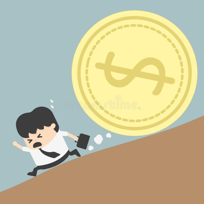 Mousetrap med dollartecknet som isoleras på vit bakgrund stock illustrationer
