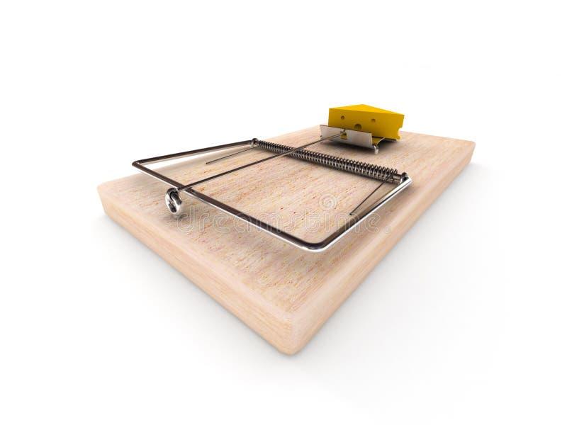 Mousetrap med ost royaltyfri illustrationer